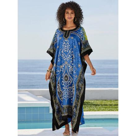 Mixology Print Silky Long Caftan by EY Signature