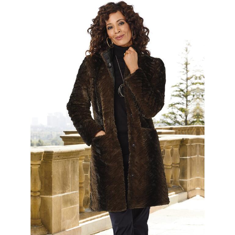 Double Luxe Reversible Faux-Fur Coat by Larry Levine