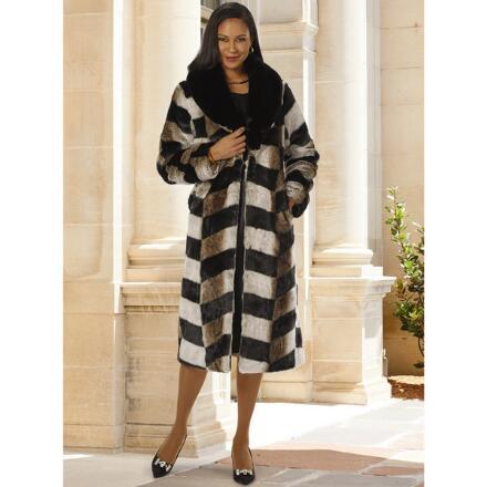 Chevron Faux-Fur Coat by LUXE