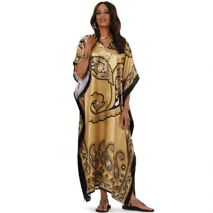 Gilt Paisley Print Silky Long Caftan by EY Signature