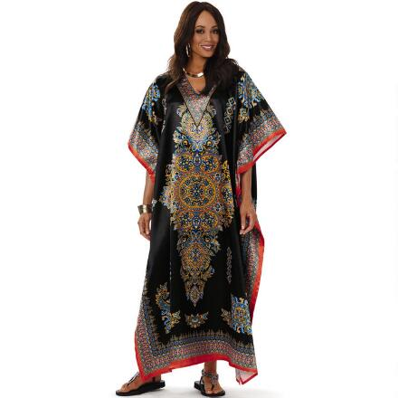Chakra Print 2 Silky Long Caftan by EY Signature