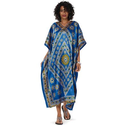 Morocco Print Silky Long Caftan by EY Signature