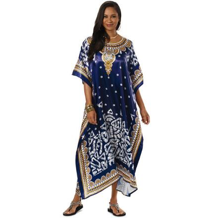 Staycation Print Silky Long Caftan by EY Signature