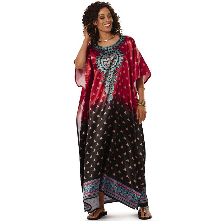 Ombré-ific Print Silky Long Caftan by EY Signature