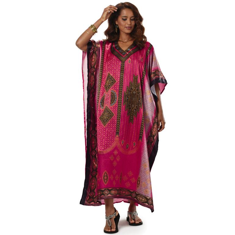Eclectic Print Silky Long Caftan by EY Signature
