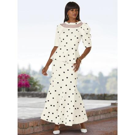 Polka-Dot Illusion Skirt Set by Dorinda Clark-Cole