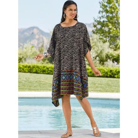 Crosshatch Print Microfiber Short Caftan by EY Signature