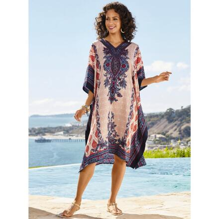 Amira Print Microfiber Short Caftan by EY Signature