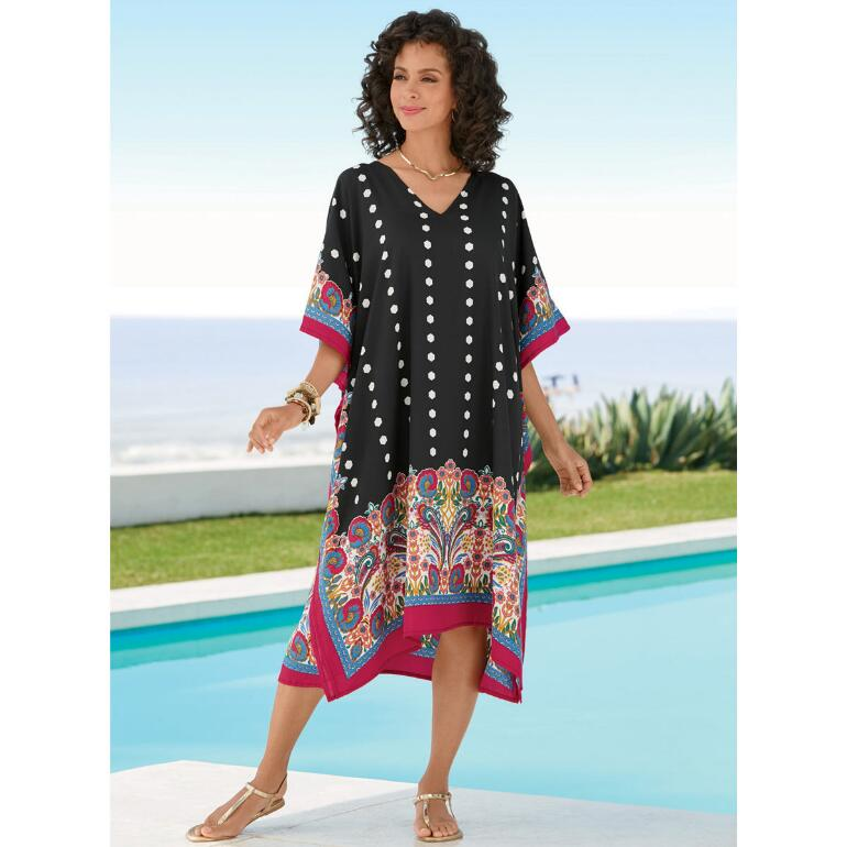 Floral Border Print Microfiber Short Caftan by EY Signature