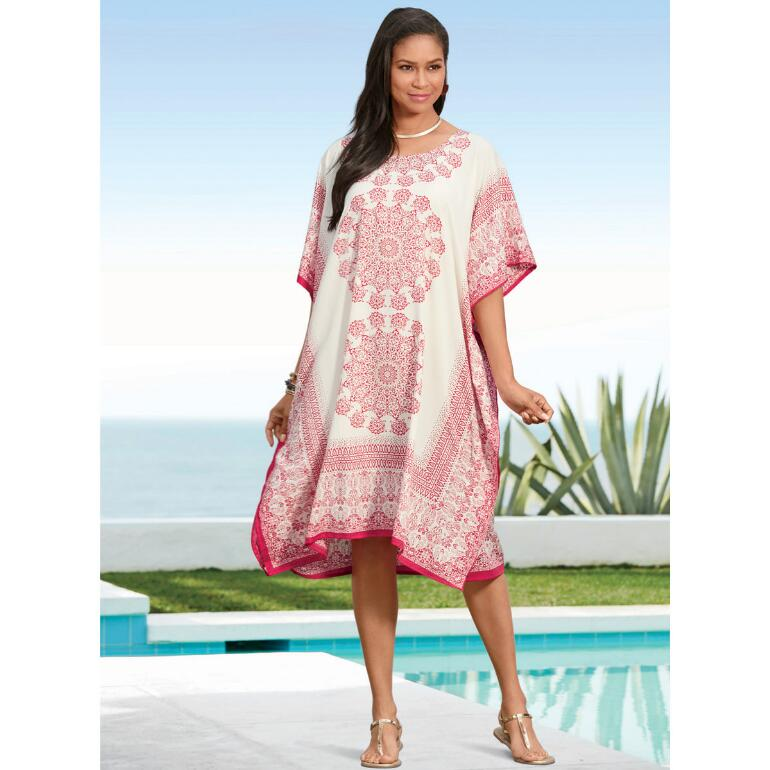 Spirograph Print Microfiber Short Caftan by EY Signature