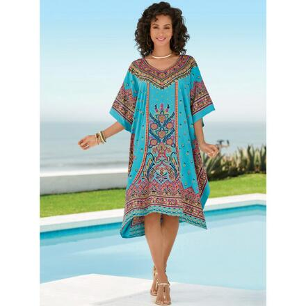 Folk Flower Print Microfiber Short Caftan by EY Signature