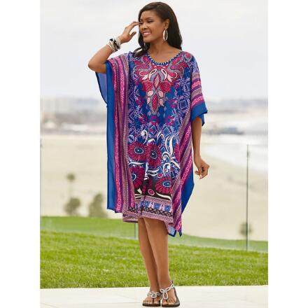 Fantastique Print Microfiber Short Caftan by EY Signature