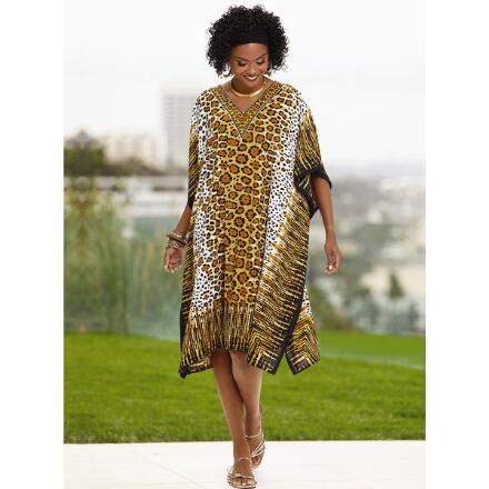Serengeti Print Microfiber Short Caftan by EY Signature