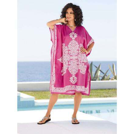 Tracery Print Microfiber Short Caftan by EY Signature