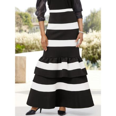 Stripes `n' Tiers Knit Skirt by Studio EY