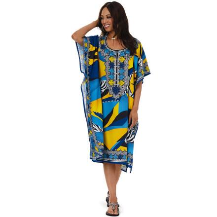 Mod Collage Print Microfiber Short Caftan by EY Signature