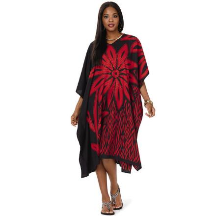 Kabloom Print Microfiber Short Caftan by EY Signature