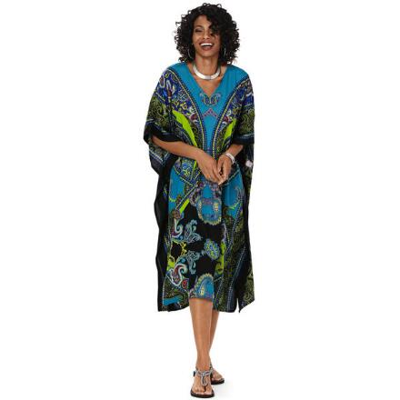 Kaleidoscope Print Microfiber Short Caftan by EY Signature