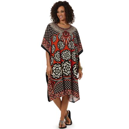 Whirligig Print Microfiber Short Caftan by EY Signature