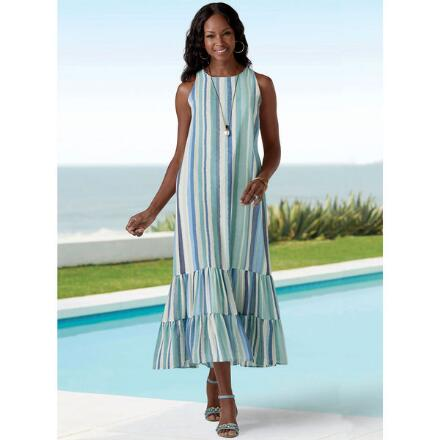 Styled with Stripes Maxi Flounce Dress by Studio EY