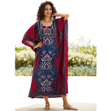 Istanbul Print Microfiber Long Caftan by EY Signature