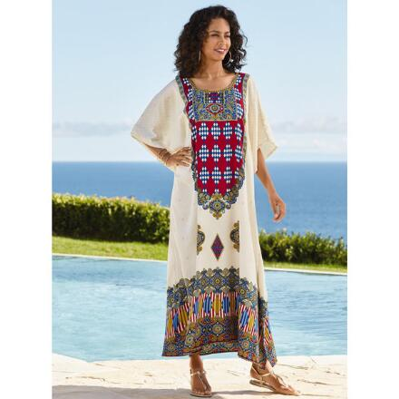 Blazon Print Microfiber Long Caftan by EY Signature