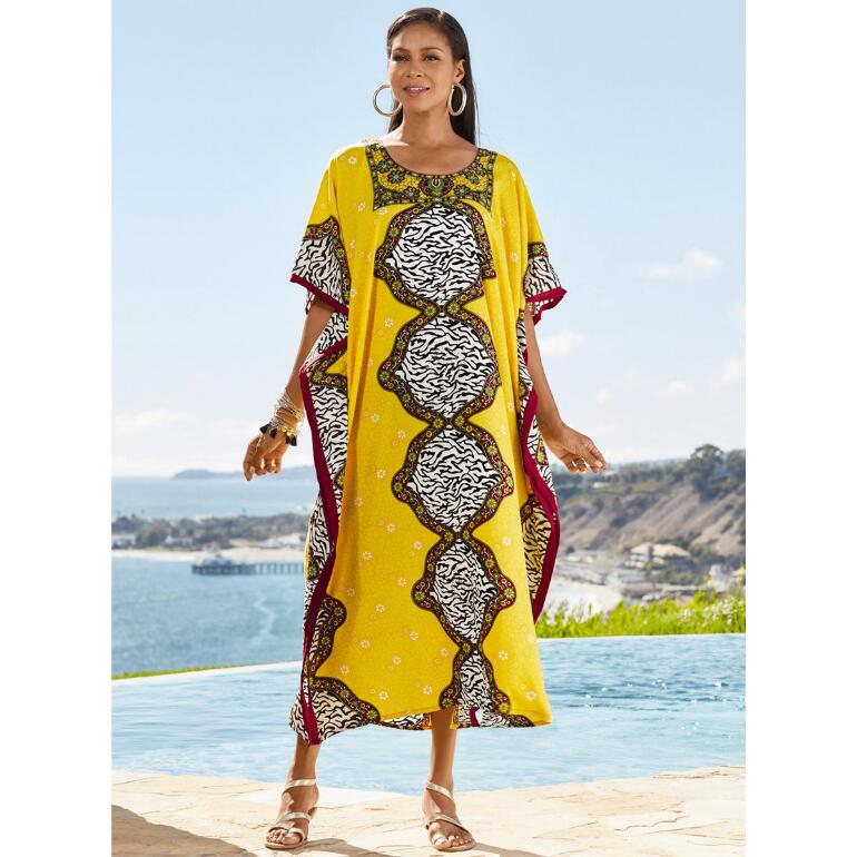 Wild Inside Print Microfiber Long Caftan by EY Signature