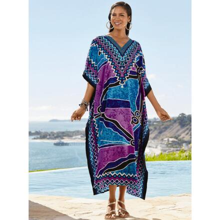 Take a Cruise Print Microfiber Long Caftan by EY Signature