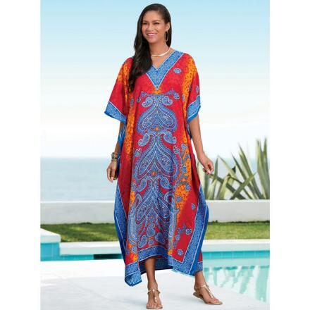 Paisley Heart Print Microfiber Long Caftan by EY Signature