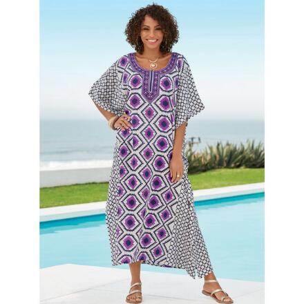 Purple Geo Print Microfiber Long Caftan by EY Signature