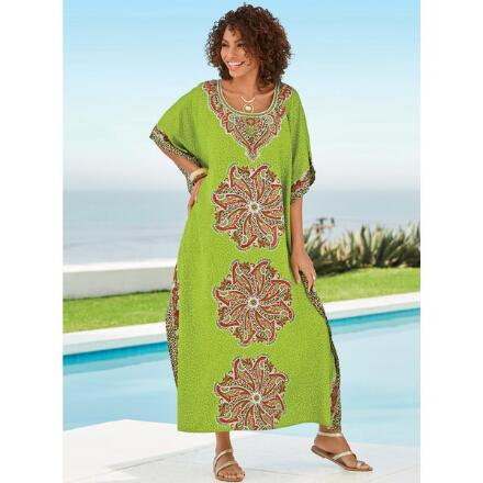 Wild Whirl Print Microfiber Long Caftan by EY Signature