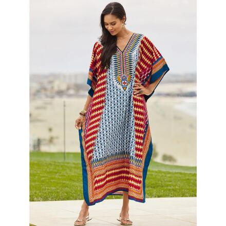 Echo Geo Print Microfiber Long Caftan by EY Signature