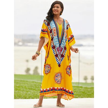 Symbology Print Microfiber Long Caftan by EY Signature