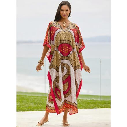 Remix Print Microfiber Long Caftan by EY Signature