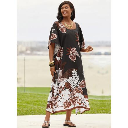 Nightshade Print Microfiber Long Caftan by EY Signature