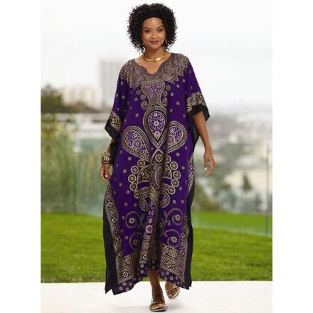 Paisley Lady Print Microfiber Long Caftan by EY Signature