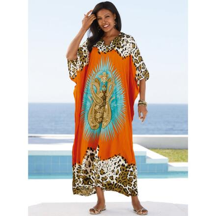 Fierce Mix Print Microfiber Long Caftan by EY Signature