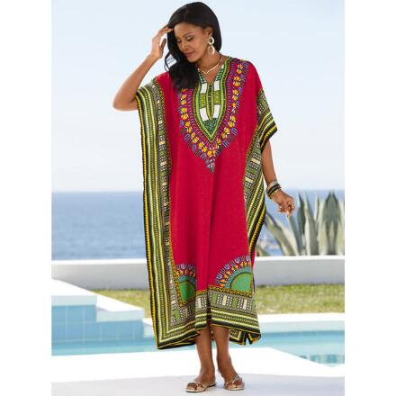 Tribal Border Print Microfiber Long Caftan by EY Signature