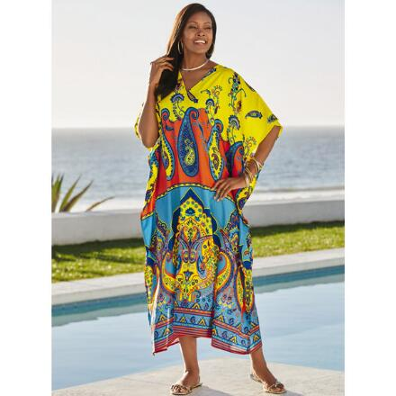 Technicolor Print Microfiber Long Caftan by EY Signature