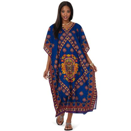 Samsara Print Microfiber Long Caftan by EY Signature