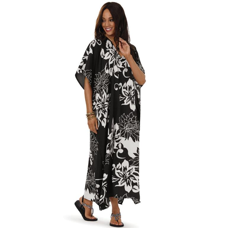 Night Blooms Print Microfiber Long Caftan by EY Signature