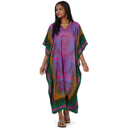 Namaste Print Microfiber Long Caftan by EY Signature