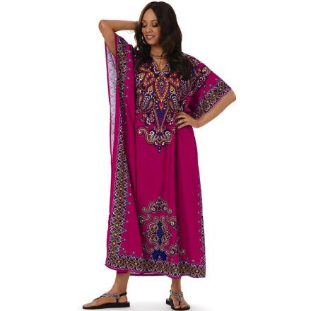 Wavelength Print Microfiber Long Caftan by EY Signature