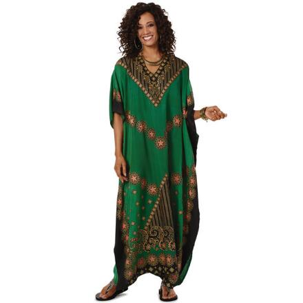Utopia Print Microfiber Long Caftan by EY Signature