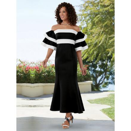 Flounce of Stripes Maxi Dress by EY Boutique