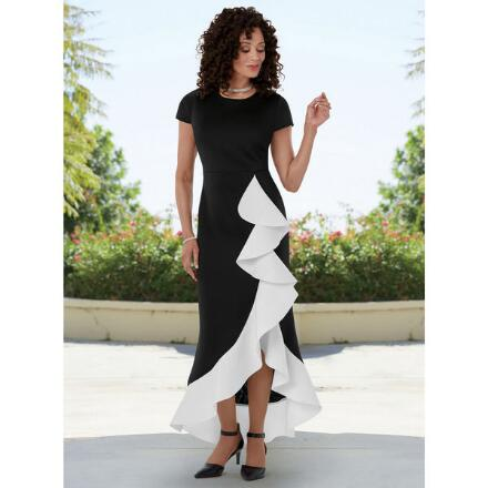 Cascading in Contrast Dress by EY Boutique