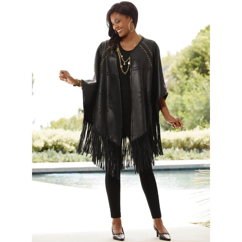 Fringed Faux-Leather Poncho by Lisa Rene