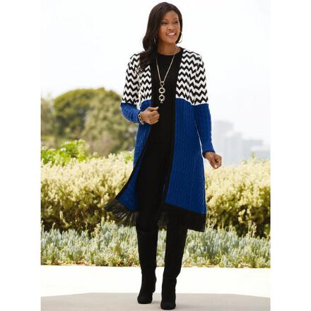Bold Chevron Sweater Jacket by Studio EY