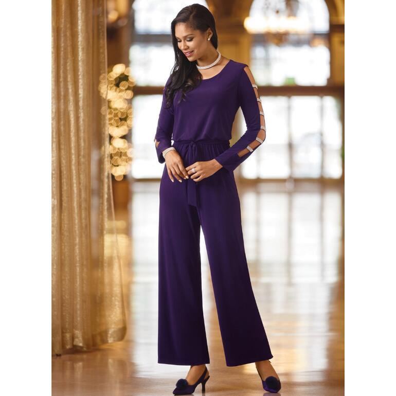 Embellished-Sleeve Jumpsuit