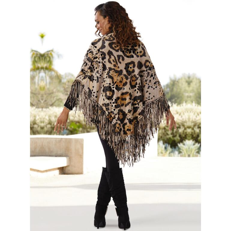 Faux-Suede Fringed Shawl by Studio EY